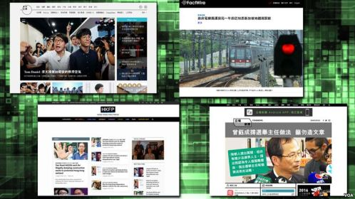 Screenshots represent four Hong Kong online news organizations.