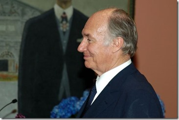 Mawlana Hazar Imam, His Highness the Aga Khan, pictured before he was presented with the Order of Canada decoration by Her Excellency the Right Honourable Adrienne Clarkson in Ottawa on June 6, 2005