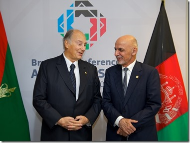 From left to right - Mr Mohammad ASHRAF GHANI, President of Afghanistan; His Highness the Aga KHAN, Founder and Chairman of the Aga Khan Development Network.