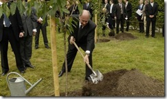 His Highness planting a cherry tree in the park of the Castle Sanssouci in Potsdam, for the -Growing Together- campaign - a part of the official celebrations for the 15th anniversary of German Reunificat