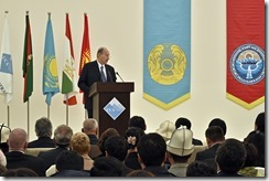 His Highness the Aga Khan addresses guests gathered at the opening of the University of Central Asia's first campus in Naryn, Kyrgyz Republic.