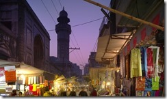 Kotwali Bazaar, looking west along the north facade of the Wazir Khan Mosque, Walled City of Lahore, Pakistan.