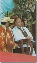Mawlana Hazar Imam, His Highness the Aga Khan, pictured at the Olympia Hall, London, during his weeklong visit to the United Kingdom Jamat in September 1979.