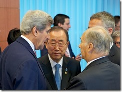 Mr John KERRY, Mr Ban Ki MOON and His Highness the Aga KHAN