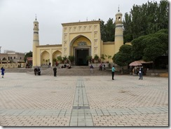 Kashgar's Id Kah mosque and the huge square in front of it. The 15th century mosque can accommodate up to 10,000 worshipers.
