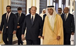 Mawlana Hazar Imam and Sheikh Mansour Bin Zayed Al Nahyan proceed to lunch, accompanied by an entourage that includes Prince Aly Muhammad and several UAE leaders. GARY OTTE