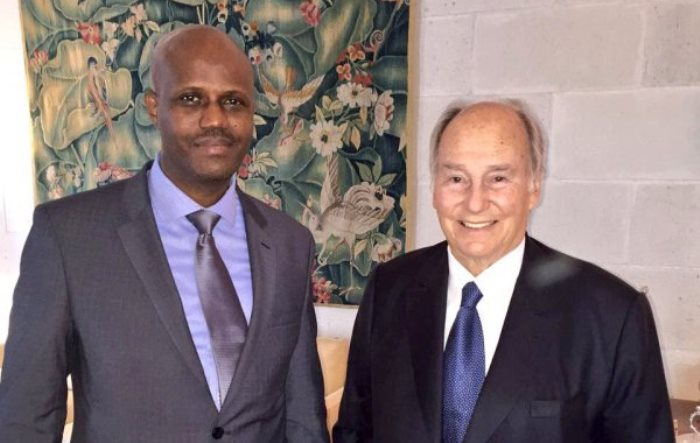 His Highness Prince Karim Aga Khan with Libérât Mfumukeko, the Secretary General of the East African Community (EAC). The Secretary General of the EAC was in Brussels for a funding meeting at the European Commission. (Image credit: Bwiza)