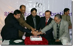 Cake cutting ceremony in Gilgit on His Highness the Aga Khan's 80th birthday
