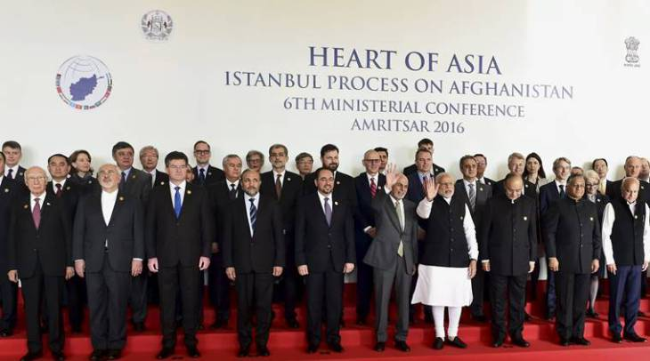 Sunday, Dec 4th, 2016 - Amritsar, India: Prime Minister Narendra Modi, along with Afghanistan's President Ashraf Ghani, Finance Minister Arun Jaitley, MoS for External Affairs V K Singh and other delegates, pose for a group photo before the inauguration of the 6th Heart of Asia Ministerial Conference.<br /> Mrs. Nurjehan Mawani, AKDN Resident Representative for Afghanistan, is seen standing at the back row, 5th person from the left.<br /> (PTI Photo by Kamal Kishore)