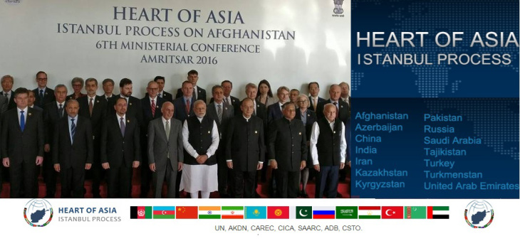 Sunday, Dec 4th, 2016 - Amritsar, India: Prime Minister Narendra Modi, along with Afghanistan's President Ashraf Ghani, and other delegates, pose for a group photo before the inauguration of the 6th Heart of Asia Ministerial Conference.<br /> Mrs. Nurjehan Mawani, AKDN Resident Representative for Afghanistan, is seen standing at the back row, 3rd person from the left. (Image credit: MEA via The Indian Express)