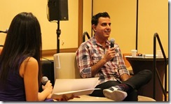 Keynote speaker Razor Suleman shares his startup lessons with the audience during a Fireside Chat with Sehr Charania