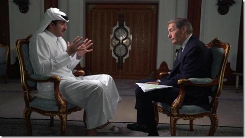 Sheikh Tamim bin Hamad Al Thani, Qatar's emir, and 60 Minutes correspondent Charlie Rose CBS NEWS