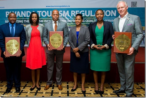 The facilities awarded five-star categor to three Hotels with officials in group photo