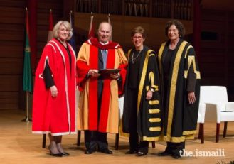 Mawlana Hazar Imam receives a standing ovation following the degree conferral ceremony at the University of Calgary.