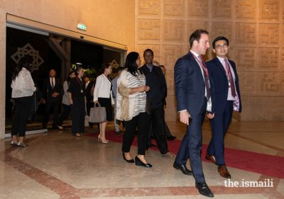 Guests arrive at the Ismaili Centre Lisbon for an evening reception