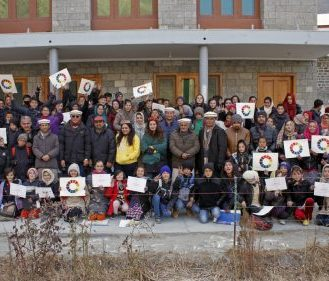 A group photo of the participants with the instructors at the Winter Arts Camp
