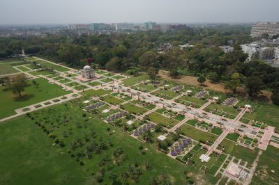 Aerial view over the newly constructed main spine of the Sunder Nursery public garden. --- AKTC