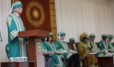 Aga Khan University President Firoz Rasul speaking at AKU's convocation ceremony in Dar es Salaam, Tanzania.