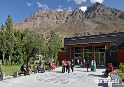 The social hall courtyard, with concrete benches to facilitate conversation, at the Ismaili Jamatkhana and Centre, Khorog, Tajikistan.