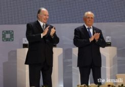 Mawlana Hazar Imam and Mintimer Shaimiev, State Councellor of Tatarstan, applaud the winners of the 14th cycle of the Aga Khan Award for Architecture. PHOTO: AKBAR HAKIM