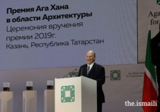 Mawlana Hazar Imam enjoys a light moment while addressing guests at the Aga Khan Award for Architecture Ceremony in Kazan on 13 September 2019.PHOTO: AKBAR HAKIM