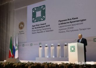 Mintimer Shaimiev, State Councellor of Tatarstan delivers remarks at the Aga Khan Award for Architecture Ceremony in Kazan on 13 September 2019.PHOTO: AKBAR HAKIM