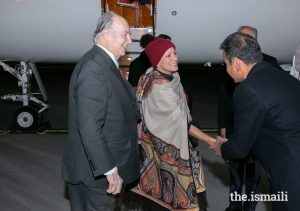 Mawlana Hazar Imam and Princess Zahra are welcomed to Ottawa by Ameerally Kassim-Lakha, President of the Ismaili Council for Canada, on behalf of the Canadian Jamat.PHOTO: MO GOVINDJI