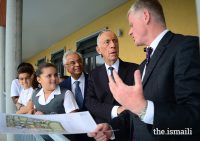 President Marcelo Rebelo de Sousa is shown around the Aga Khan Academy's campus and facilities, and the works currently in progress to expand the school in Maputo. PHOTO: OTTO EVANDSON / AKDN